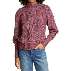 Rebecca Taylor Soft Tweed Cable Pullover Bordeaux